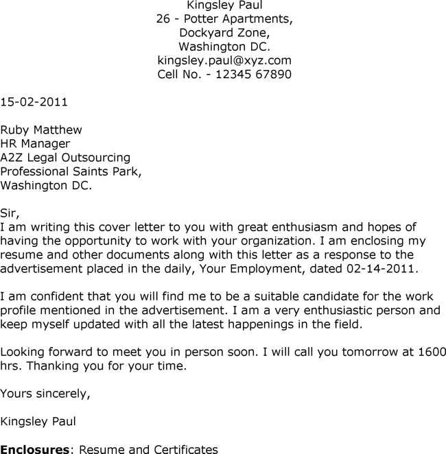 examples of application letters for employment