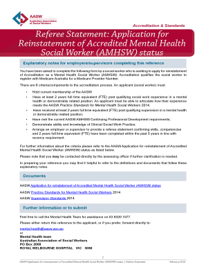 aasw mental health accreditation application form