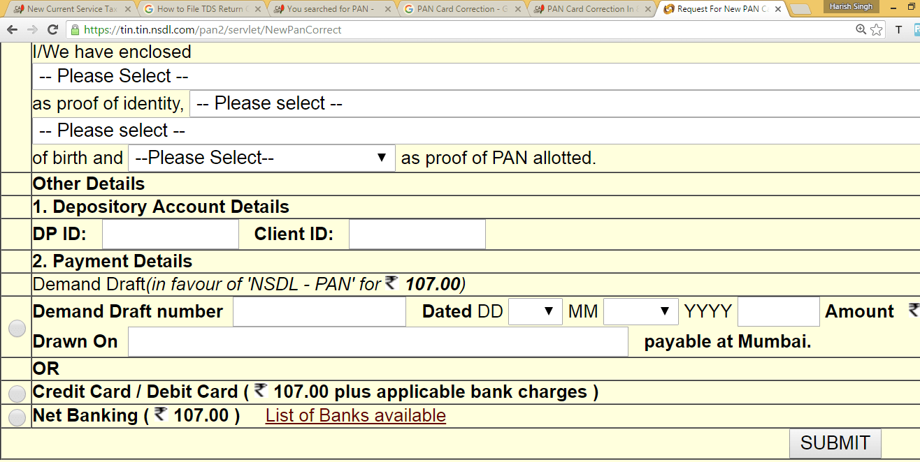 pan card application form print