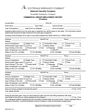 driver application for employment form