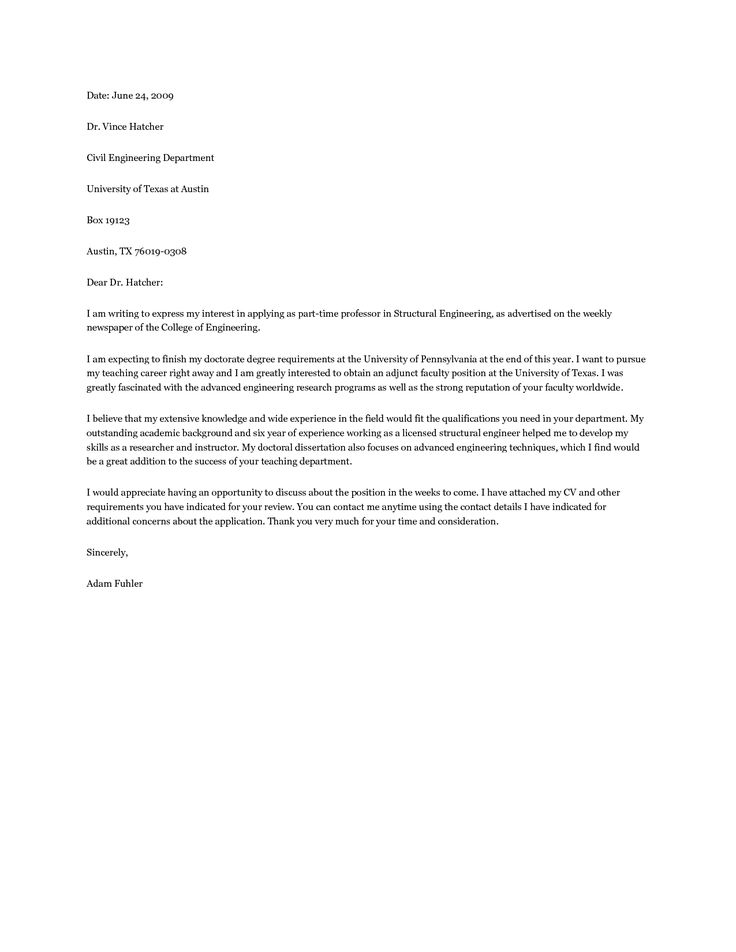 an application letter for a teaching job