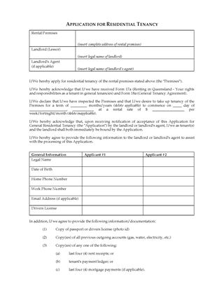 application for residential tenancy qld