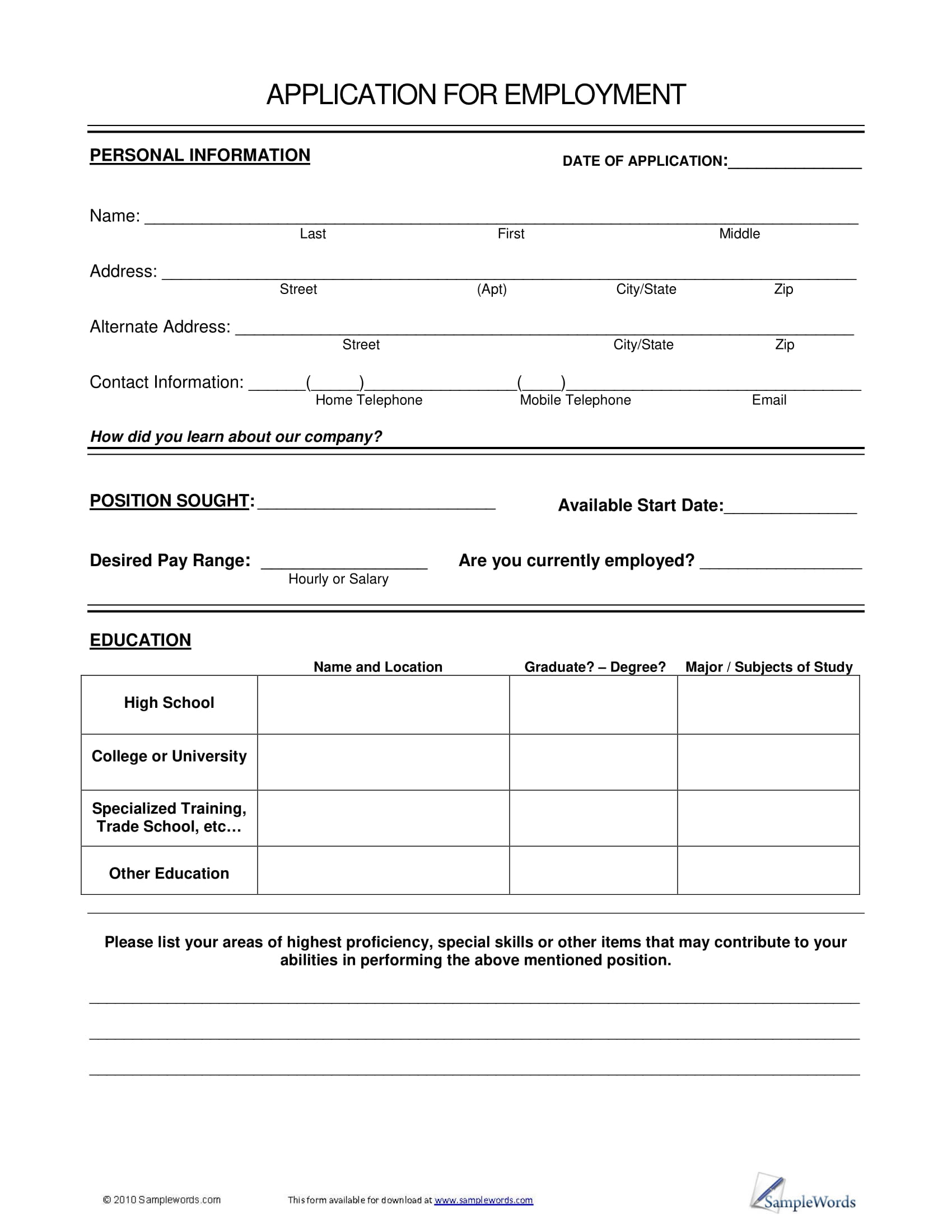application form example for job