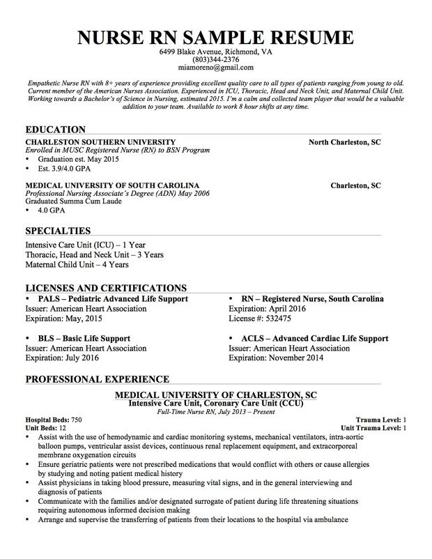 application letter for nurses with experience