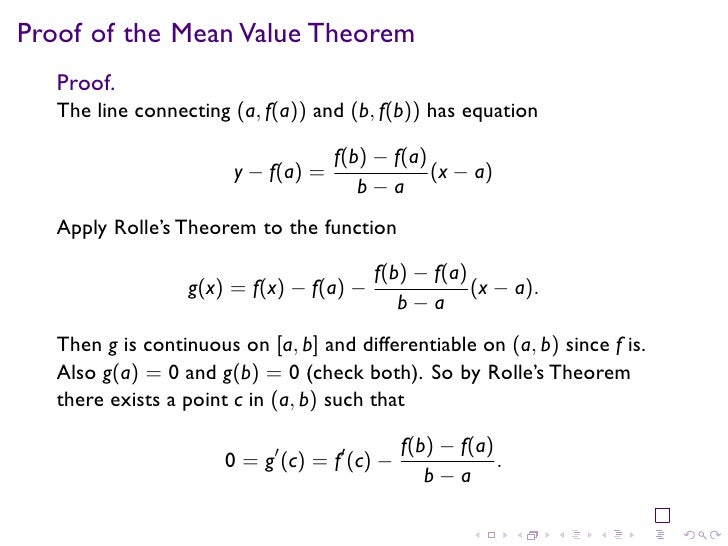 application of mean value theorem