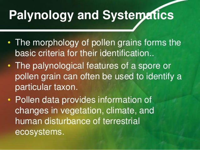 application of palynology in botany