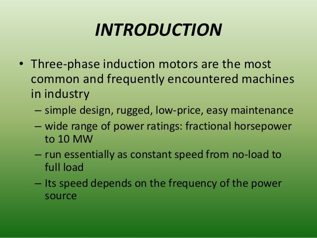 application of squirrel cage induction motor