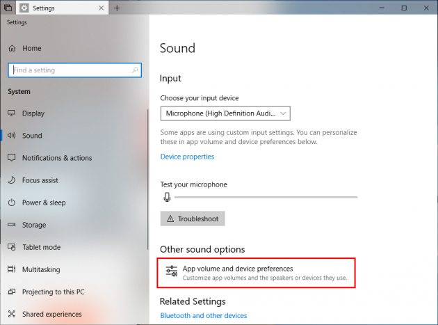 assigning an application to different sound outputs windows 10