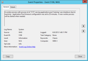 iis application pool recycle event log