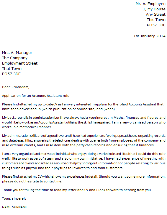 application letter sample for accountant