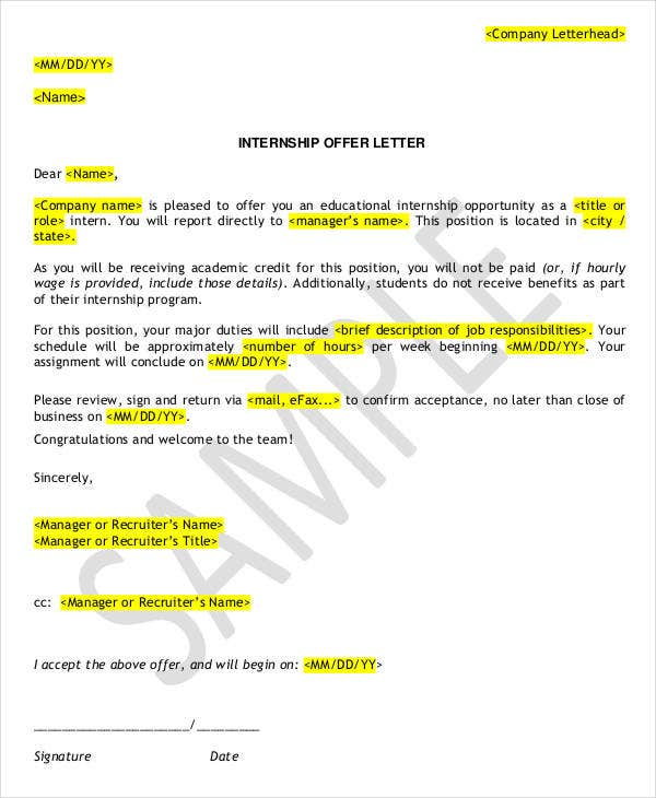 how to write an application letter for internship