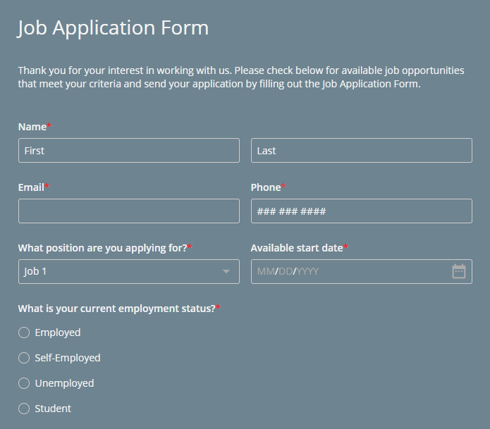 candidate application form for job