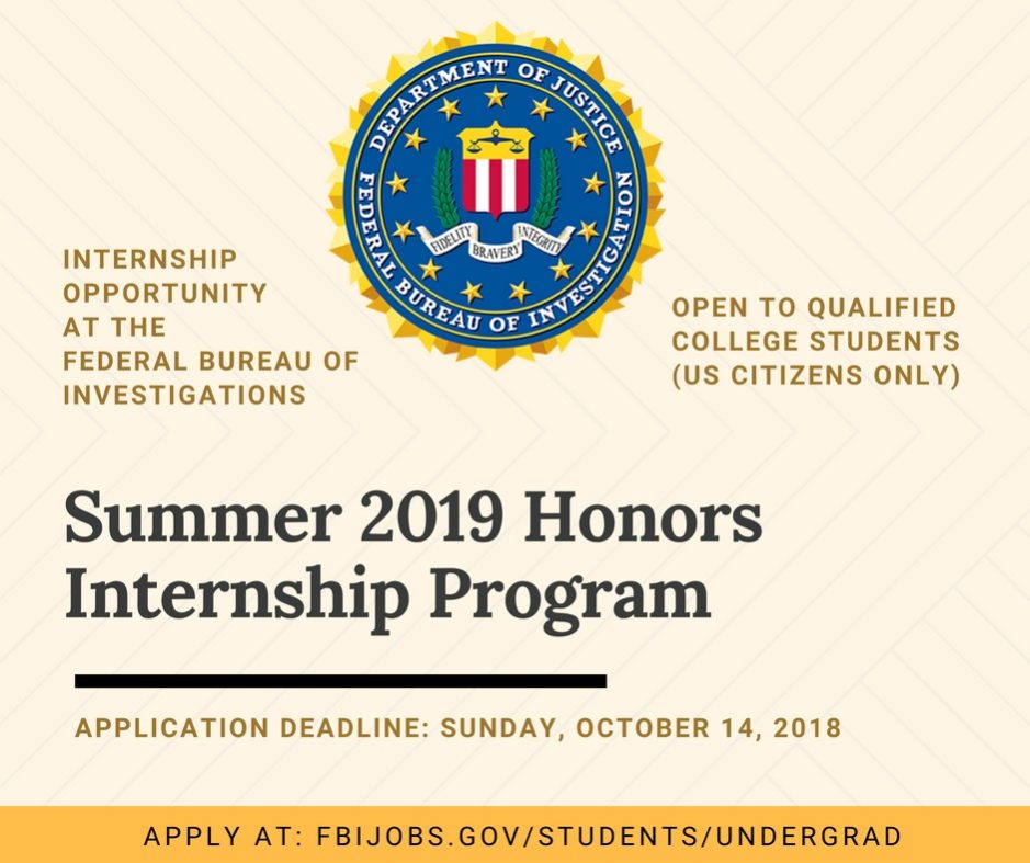 fbi honors internship application 2018
