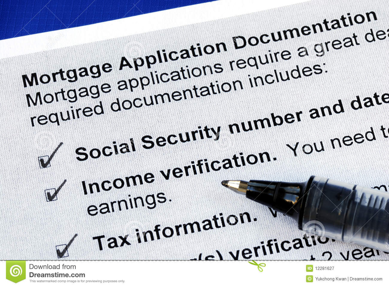 documents required for loan application
