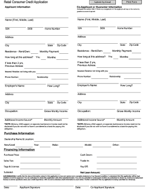 consumer credit application form template