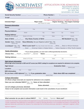 course of study in college job application