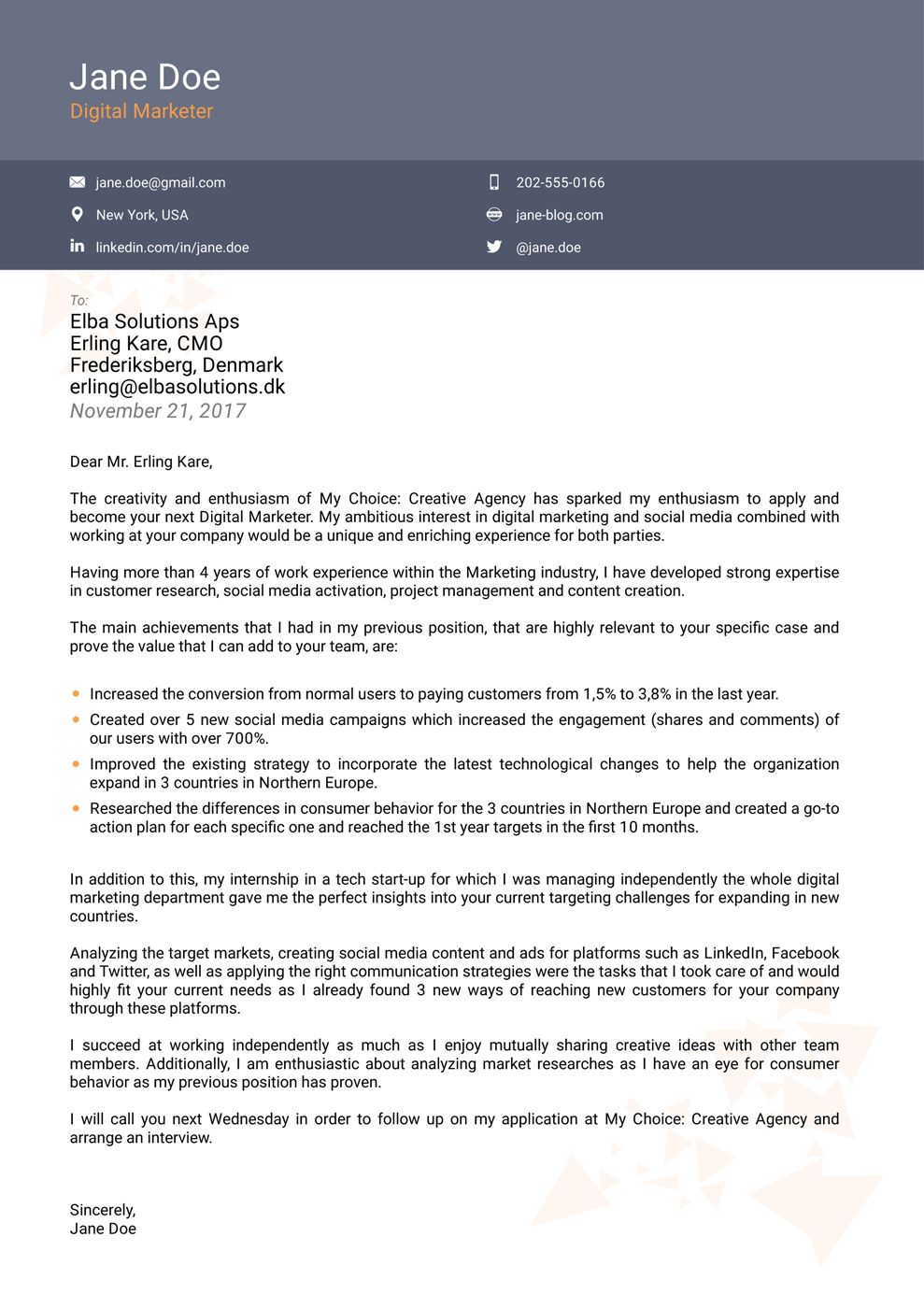 cover letter template for job application download