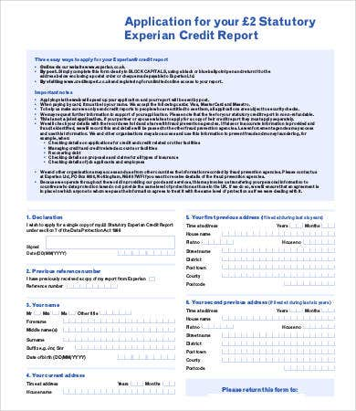 credit application template australia free