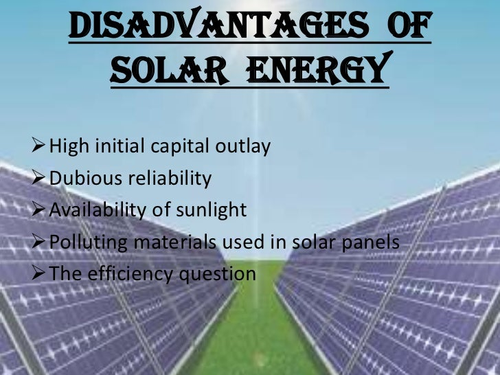 description of the application of the solar energy source
