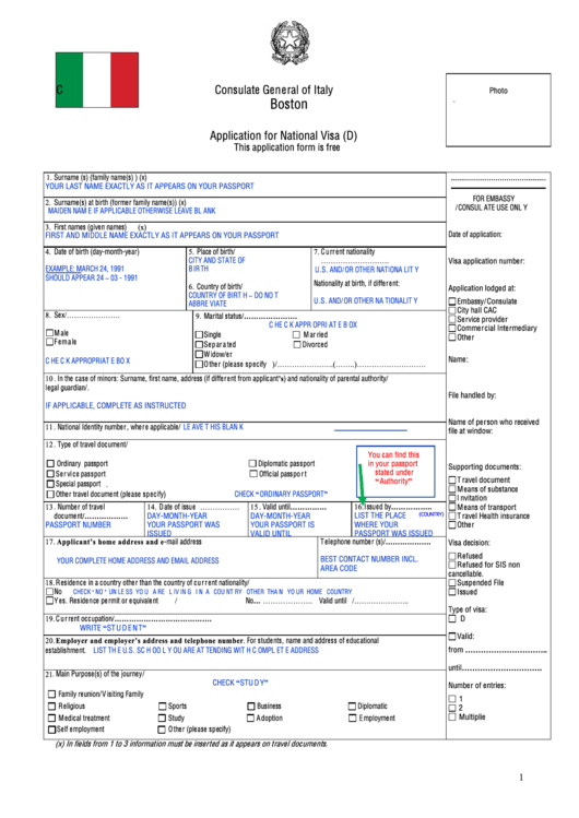 italian embassy visa application form