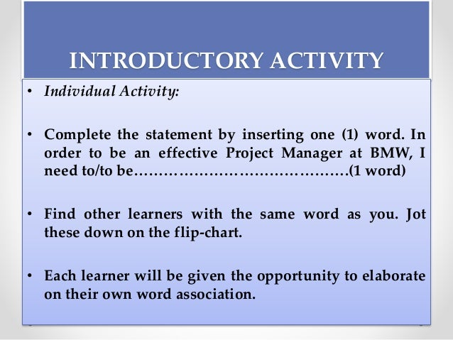 application of project management principles