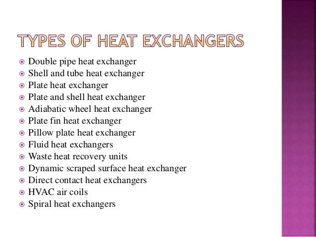 different types of heat exchangers and their applications