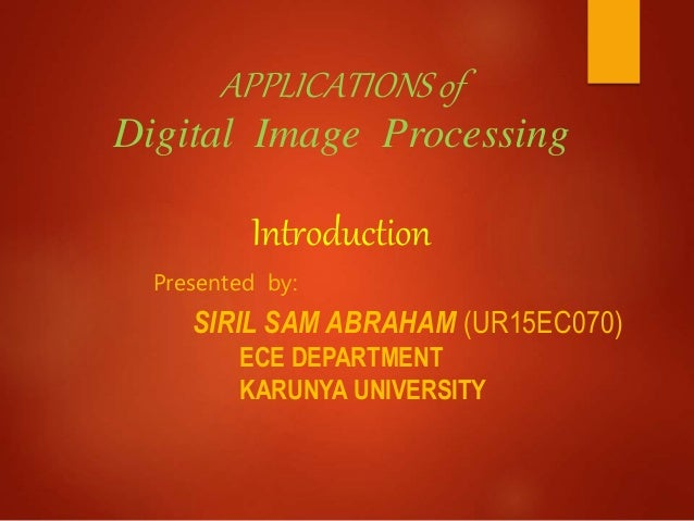 digital image processing applications areas