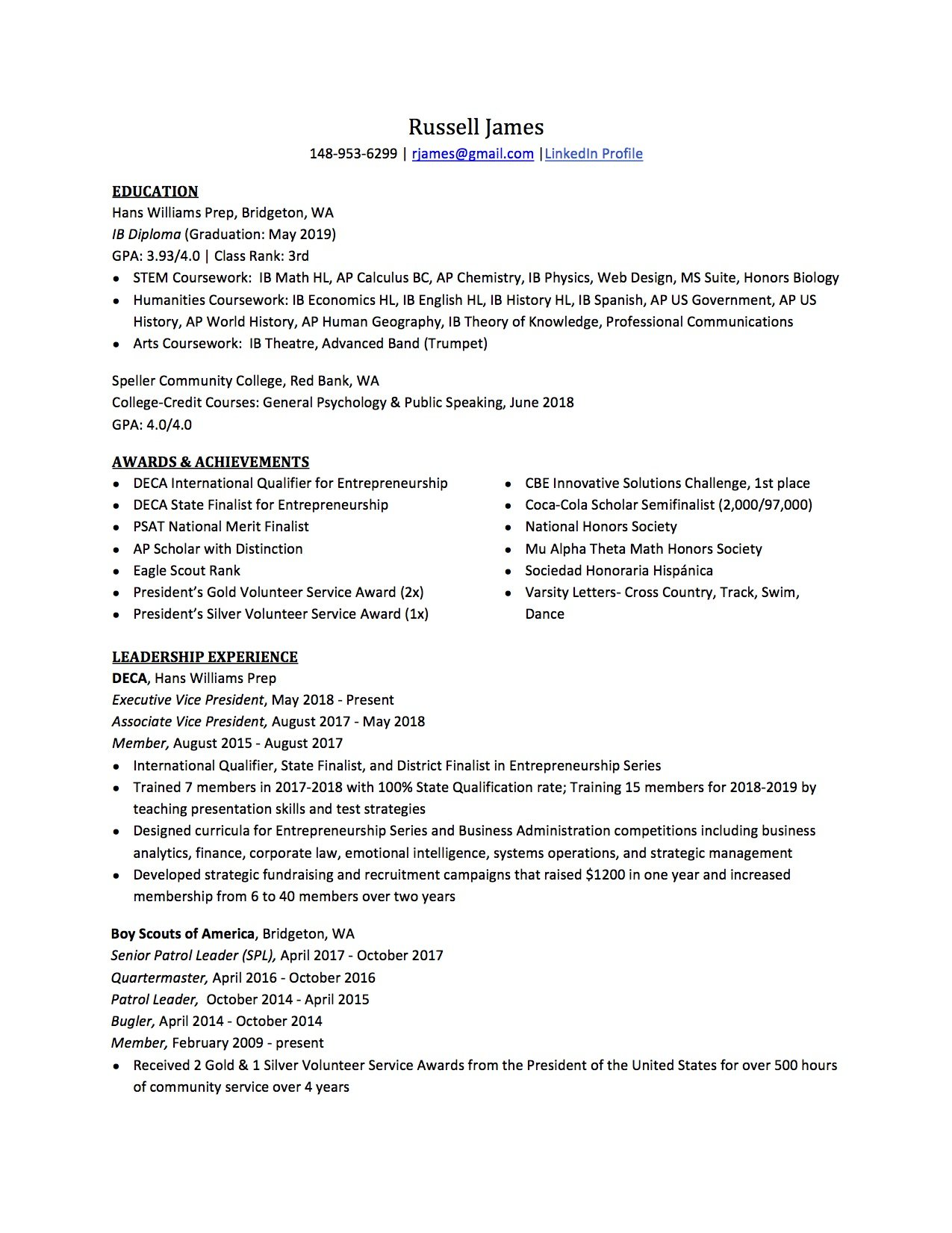 high school resume for college application