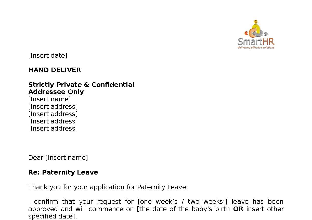 how to write paternity leave application