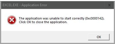 the application was unable to start correctly 0xc0000142 word
