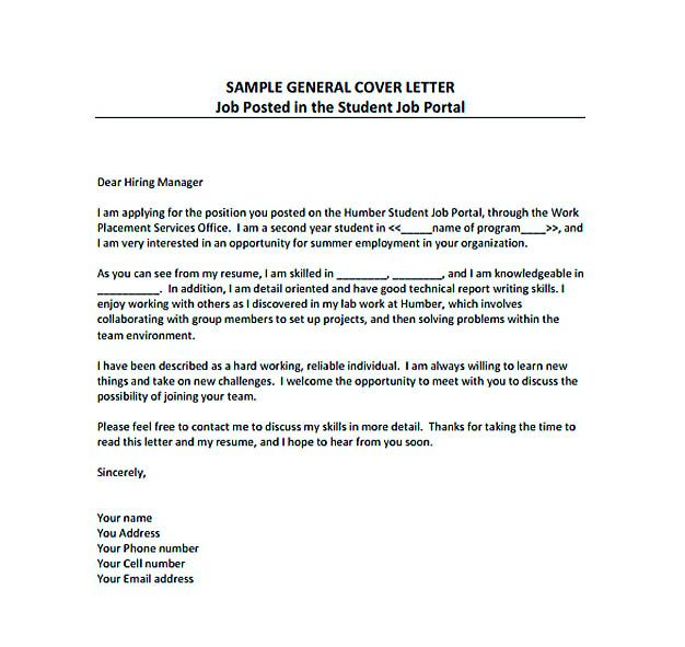 free cover letter template for job application
