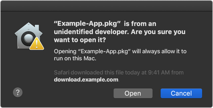 how to install applications on mac from unidentified developer