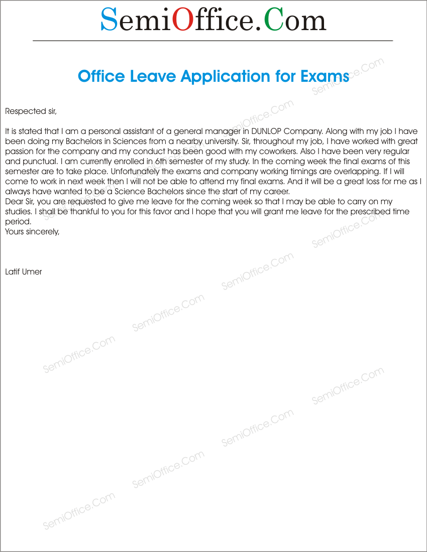how to write a leave application in office