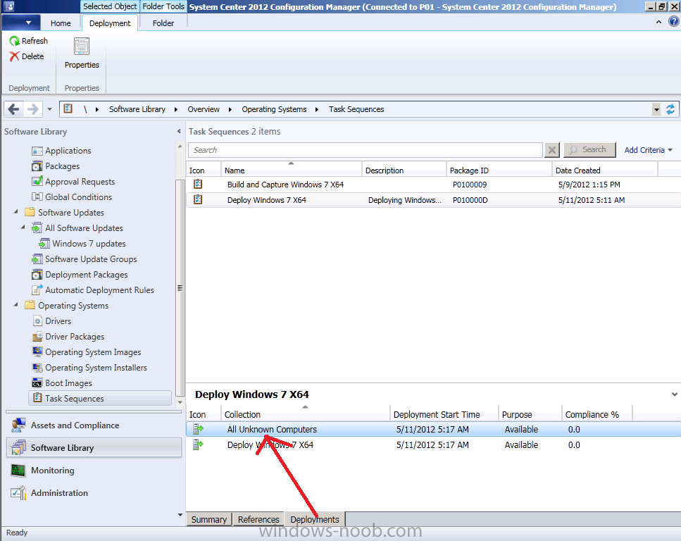 install application task sequence sccm 2012