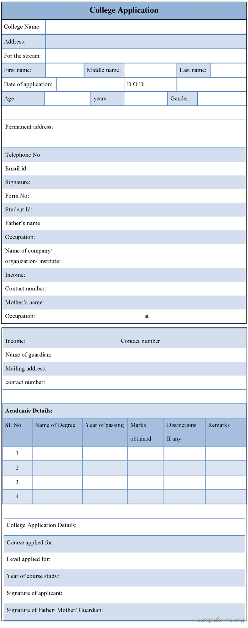 job application examples for students