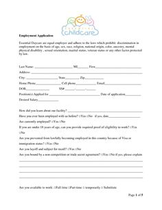 job application form template childcare