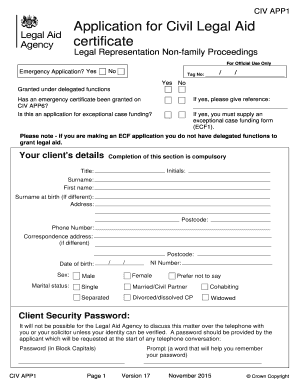 legal aid application form online