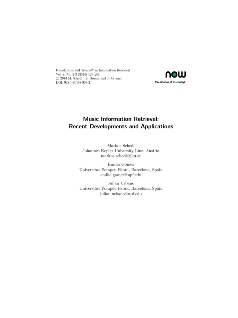 music information retrieval recent developments and applications