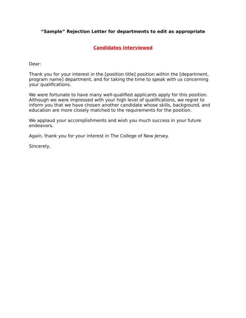 rejection letter for applicants not interviewed