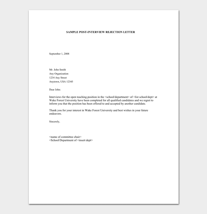 rejection letter template for job applicants