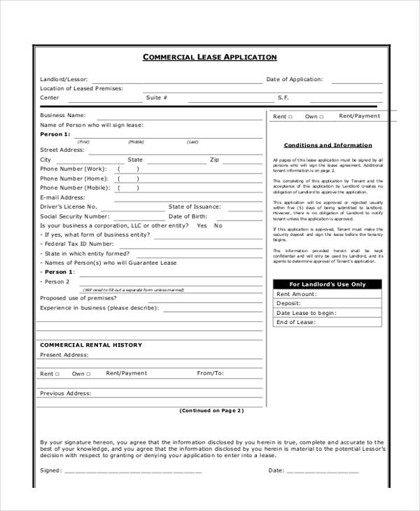 robinson property rental application form