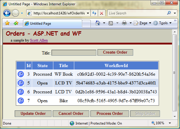 sample asp net application with database
