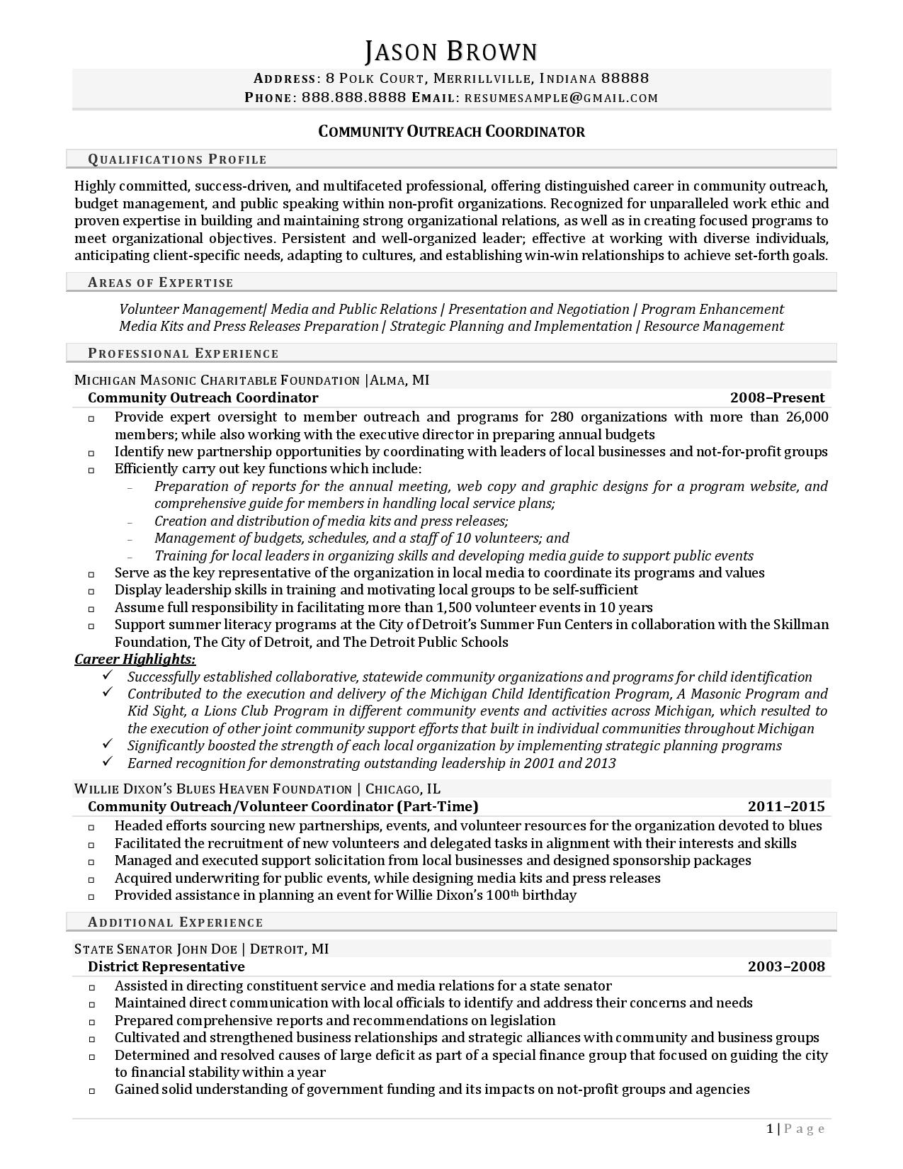 sample of good resume for job application