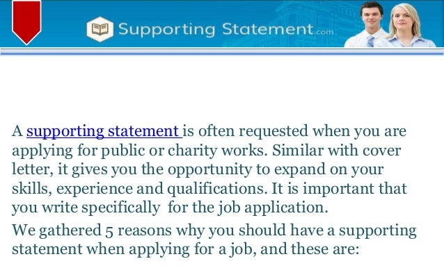 supporting statement for job application
