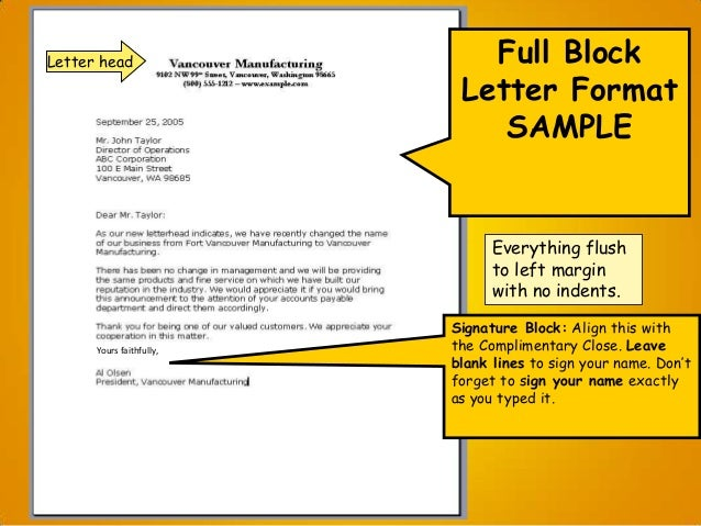 unsolicited application letter full block style