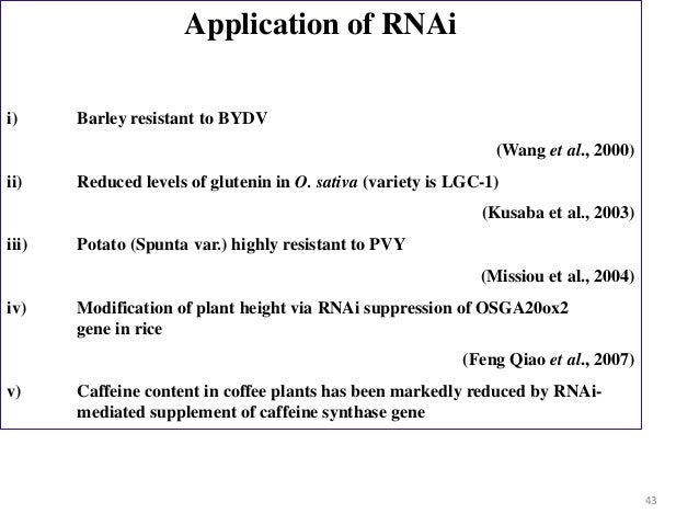 what are the possible future applications for rna interference