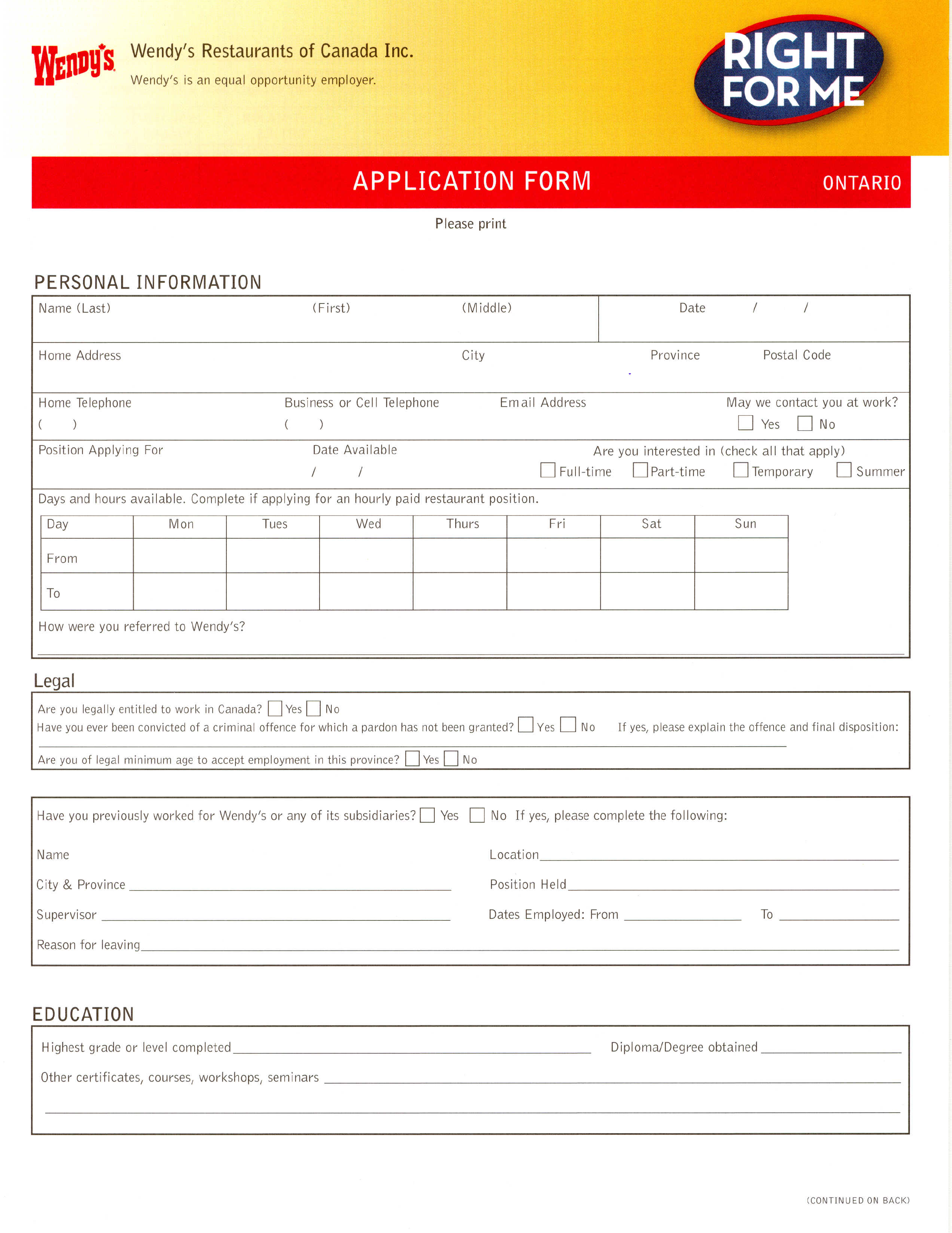 what is a job application form
