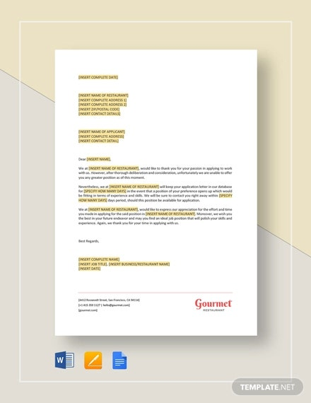 writing rejection letters to job applicants